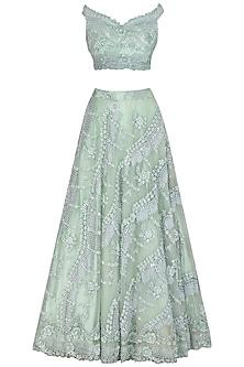 Mint Green Embroidered Lehenga Set by Megha & Jigar