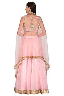 Baby Pink Embroidered Cape Lehenga Set by Megha & Jigar