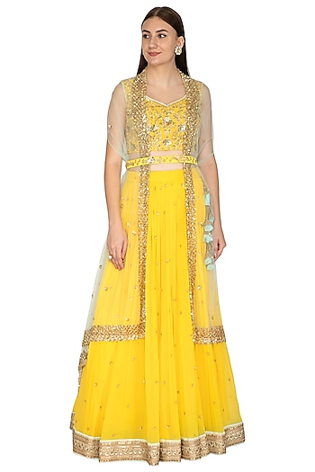 Bright Yellow Embroidered Cape Lehenga Set With Belt by Megha & Jigar