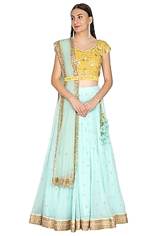 Aqua Blue & Yellow Embroidered Lehenga Set With Belt by Megha & Jigar
