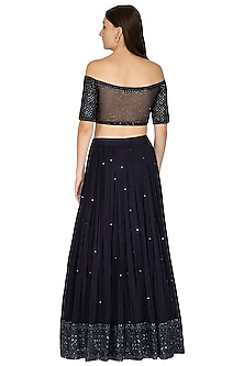 Midnight Blue Embroidered Lehenga Set by Megha & Jigar