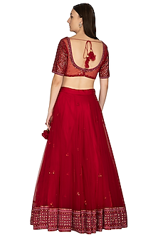 Maroon Embroidered Lehenga Set With Belt by Megha & Jigar