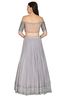 Grey Embroidered Lehenga Set With Belt by Megha & Jigar