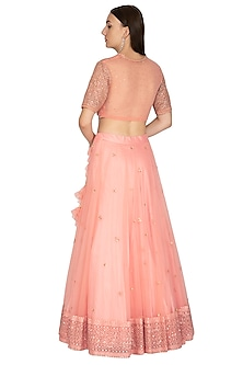 Candy Pink Embroidered Lehenga Set by Megha & Jigar