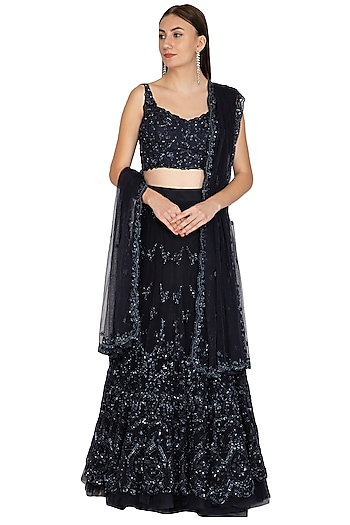 Midnight Blue Sequins Embroidered Lehenga Set by Megha & Jigar