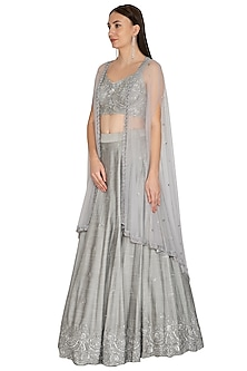 Steel Grey Embroidered Lehenga Set by Megha & Jigar