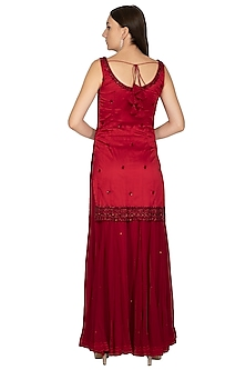 Maroon Embroidered Sharara Set by Megha & Jigar