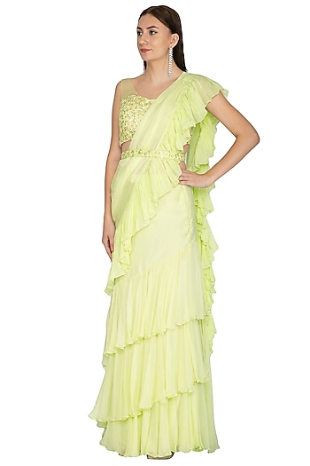 Mint Green Embroidered Ruffled Saree Set With Belt by Megha & Jigar