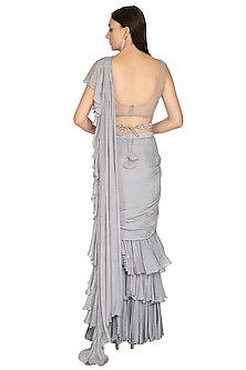 Grey Embroidered Ruffled Saree Set With Belt by Megha & Jigar