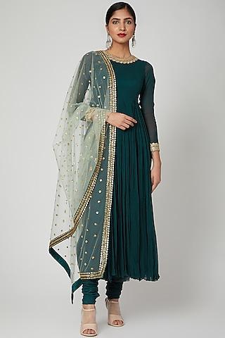 Emerald Green Embroidered Anarkali Set by Megha &Jigar