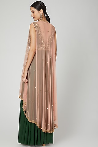 Olive Green Embroidered Jumpsuit With Cape by Megha &Jigar