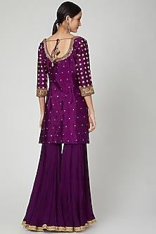 Purple Embroidered Gharara Set by Megha &Jigar