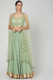 Mint Green Embroidered Lehenga Set by Megha &Jigar