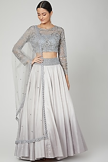 Grey Embroidered Lehenga Set by Megha &Jigar