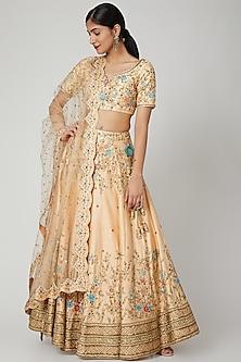 Peach Aari & Zardosi Embroidered Lehenga Set by Megha &Jigar