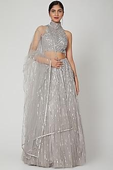 Grey Sequins Embroidered Lehenga Set by Megha &Jigar