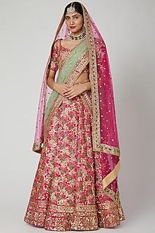 Blush Pink Aari & Zardosi Embroidered Lehenga Set by Megha &Jigar
