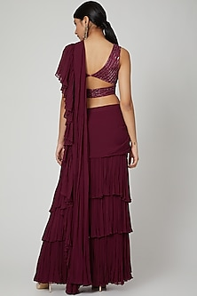 Wine Embroidered Ruffled Saree With Belt by Megha &Jigar
