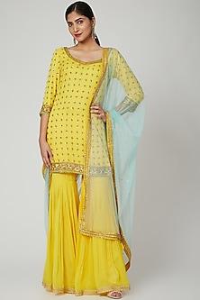 Yellow Embroidered Gharara Set by Megha &Jigar