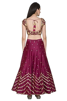 Wine Embroidered Lehenga set by Megha & Jigar