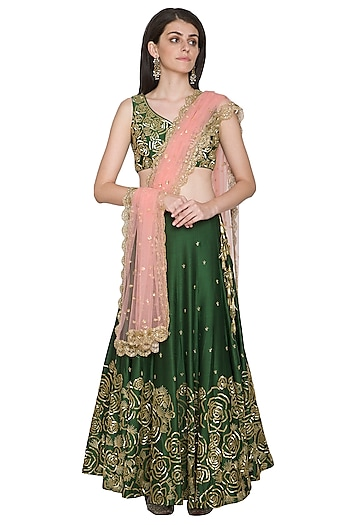 Olive Green Embroidered Lehenga Set by Megha & Jigar