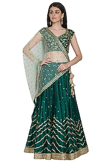Peacock Green Embroidered Lehenga set by Megha & Jigar