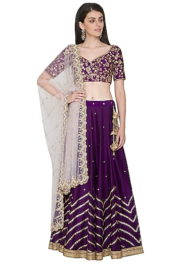 Purple Embroidered Lehenga Set by Megha & Jigar
