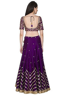 Purple Embroidered Lehenga Set by Megha & Jigar