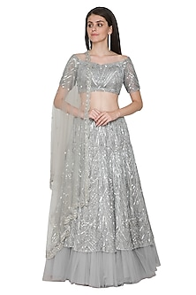 Grey Embroidered Lehenga Set by Megha & Jigar-SHOP BY STYLE