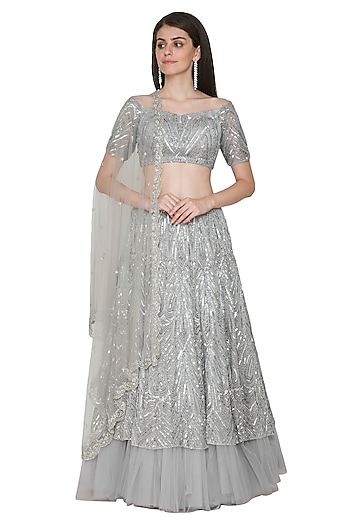Grey Embroidered Lehenga Set by Megha & Jigar