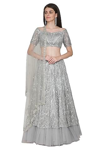Grey Embroidered Lehenga Set by Megha & Jigar