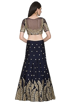 Navy Blue Embroidered Lehenga Set by Megha & Jigar