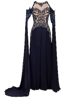 Navy blue embroidered gown by Megha & Jigar