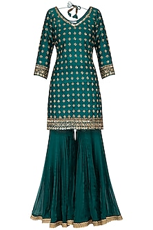 Peacock green embroidered gharara set by Megha & Jigar