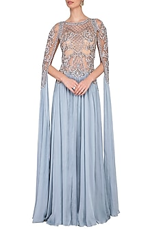 Greyish blue sequins embroidered gown by Megha & Jigar