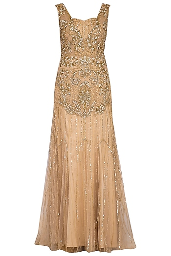 Gold embroidered gown by Megha & Jigar