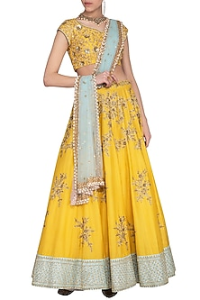 Yellow embroidered lehenga set by Megha & Jigar