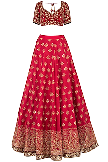 Maroon embroidered lehenga set by Megha & Jigar
