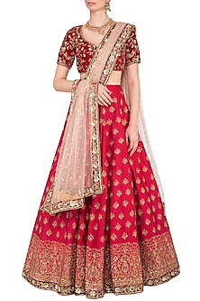 Maroon embroidered lehenga set by Megha & Jigar