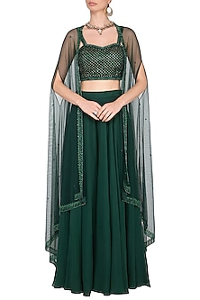 Green embroidered bustier with sharara pants and cape by Megha & Jigar