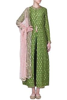 Mehandi Green Sequins Work Kurta Set by Megha & Jigar