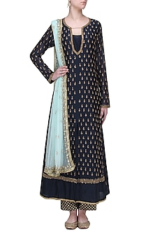 Navy Blue Sequins Work Kurta Set by Megha & Jigar