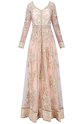 Light Peach Embroidered Jacket Sharara Set by Megha & Jigar