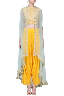 Beige Crop Top with Mustard Drape Pants and Aqua Cape by Megha & Jigar