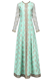 Aqua and Pink Embroidered Anarkali Set by Megha & Jigar