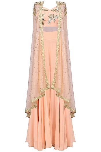 Peach Bustier with Sharara Pants and Cape by Megha & Jigar