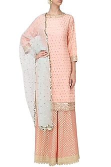 Light Pink Sequins Embroidered Sharara Set by Megha & Jigar
