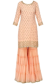 Peach Sequins Embroidered Sharara Set by Megha & Jigar