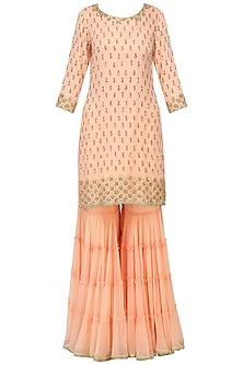Peach Sequins Embroidered Sharara Set by Megha & Jigar
