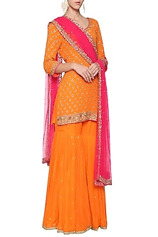 Orange Embroidered Kurta with Gharara Pants Set by Megha & Jigar